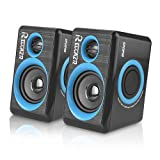 Computer Speakers With Surround Subwoofer Heavy Bass USB Wired Powered Multimedia Speaker for PC/Laptops/Smart Phone RECCAZR SP2040 Built-in Four Loudspeaker Diaphragm (BLUE)