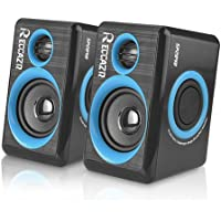 PC Speakers With Deep Bass, USB 2.0 Wired Powered Surround Computer Speaker for PC/Laptops/Desktops/TV/Smart Phone, RECCAZR SP2040 Multimedia Speaker Built-in Four Diaphragm (bule)