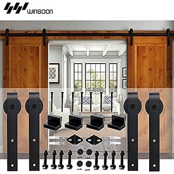 winsoon 5 18ft sliding barn wood door hardware cabinet closet kit antique style for. Black Bedroom Furniture Sets. Home Design Ideas