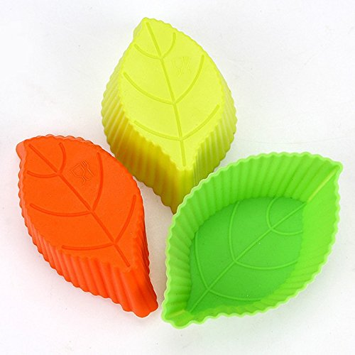 10 Pieces Hot Sale DIY Silicon Leaves Cake Mold Muffin Chocolate Cupcake Liner Baking Cup Mold (Cupcake Italian Charm)