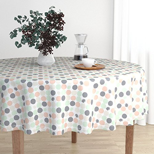 Roostery Round Tablecloth - Palette Childrens Nursery Wedding Pastel Gray Spots Circles by Katebillingsley - Cotton Sateen Tablecloth 90in
