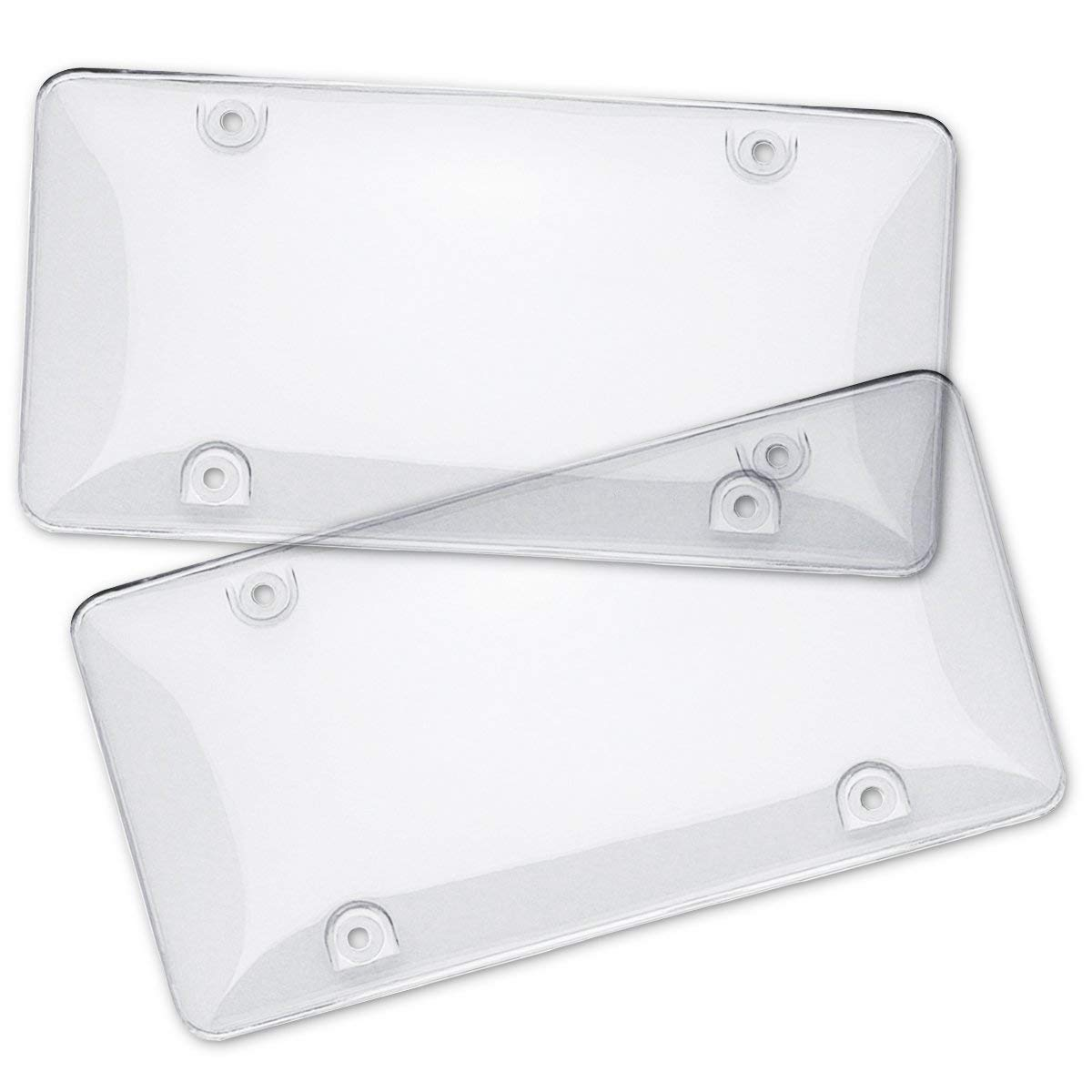WHT Tinted License Plate Cover Clear - 2-Pack Novelty/USA License Plate Flat Shield