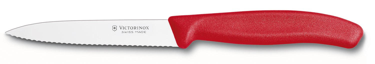 Red handled Swiss paring knife