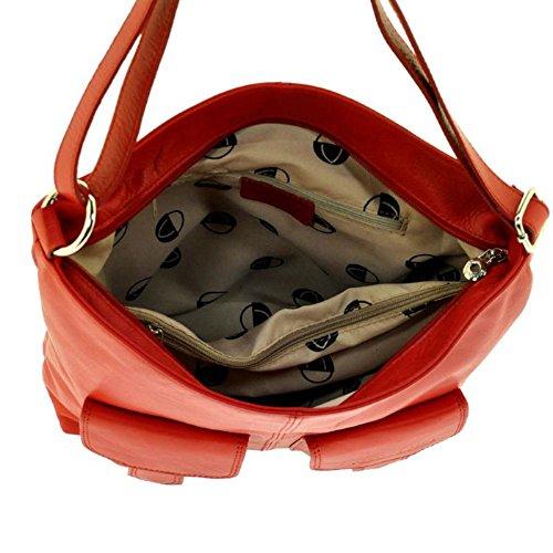 Veramenthe - Grand sac bandouliere cuir rouge