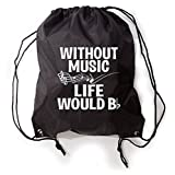 Without Music Life Would B Flat Funny Music Lovers Drawstring Gym Bag Sneaker Bag Review