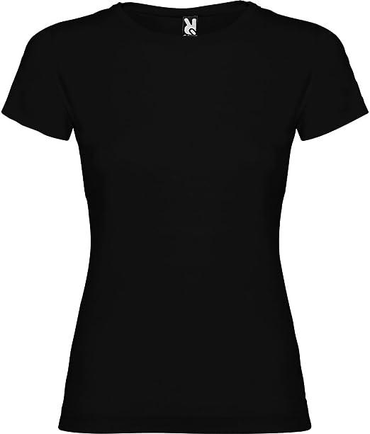 Camiseta Negra para Mujer, Manga Corta, 100% algodón: Amazon.es: Ropa y accesorios