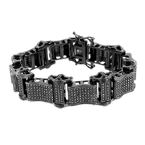 Master Of Bling Mens Black PVD Bracelet Solid Stainless Steel 316 Black Lab Diamonds Brand New