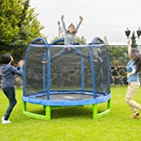 Bounce Pro 7-Foot My First Trampoline Hexagon (Ages 3-10) for Kids (Blue/Green)