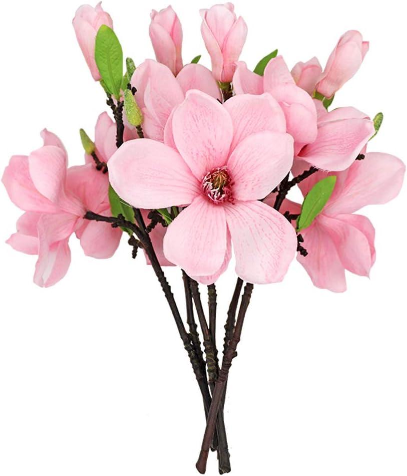 JUDYME 6 Pcs Magnolia Artificial Flowers Home Decor Pink Single Real Touch Arrangements Office Vase Table Centerpiece