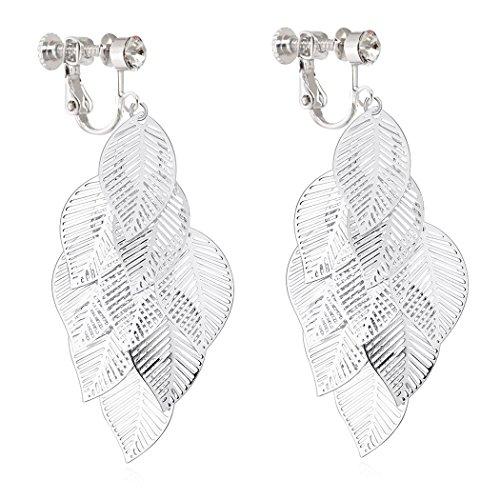 Long Dangle Clip on Earrings Chandelier Tassel Crystal Rhinestone No Pierced Silver ()