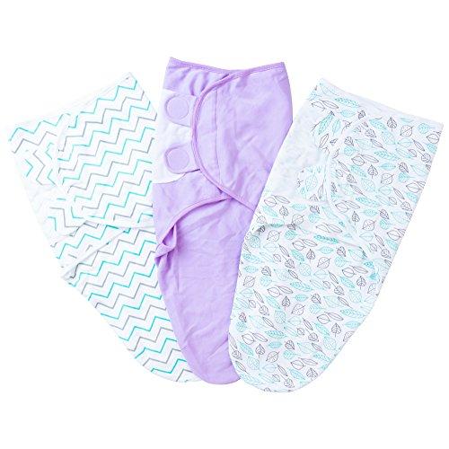 SanRaj Swaddles Swaddle Blanket 3 Pack Super Soft 100 % Muslin Cotton Baby Wrap - Breathable Plush Adjustable Infant Baby Wrap Blanket – Unisex, Warm & ()