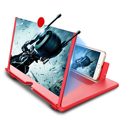 Newseego 12″ Phone Screen Magnifier, HD Mobile Phone Amplifier with Foldable Stand Holder 3D Anti-Radiation Movies Video Expanders Phone Magnifier Screen with Pull Design for All Smartphone – Red