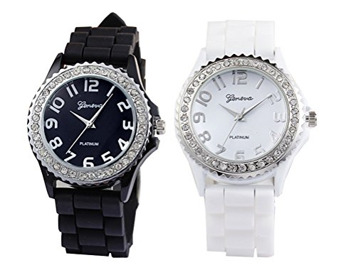 White Black 2 Pack Quartz Classic Crystal Rhinestone Large Face Watch with Silicone Jelly Link Band