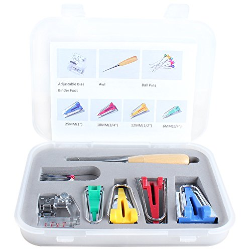 Veewon Tessuto Bias Tape Maker attrezzo del corredo per cucire & Quilting punteruolo e Binder piedi