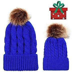 2PCS Parent-Child Hat, Mother Child Daughter Son Baby Winter Warm Soft Knit Hat Family Crochet Beanie Ski Cap