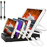 Charging Station,Ovtel Multiple Device Smart Charging Station - Compact Desktop Universal Usb Charger Station - for Tablets,iPhone,iPad,Kindle & Other Gadgets - Best Cell Phone Charging Station(Black)