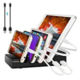 Charging Station,4 Port Charging Station & Multi Device Usb Charger Docking Stand for Tablets,Phone,Kindle,iPad & Other Gadgets - Best Cell Phone Charging Station Organizer (Black)
