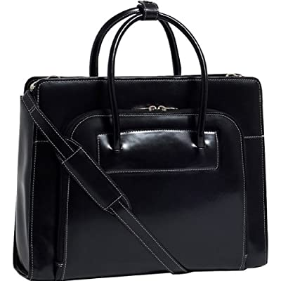 "15.4"" Lake Forest Ladies' Leather Briefcase with Removable Sleeve-Black"