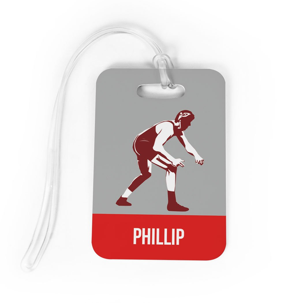 Wrestling Luggage & Bag Tag | Personalized Wrestler | Standard Lines on Back | MEDIUM | RED