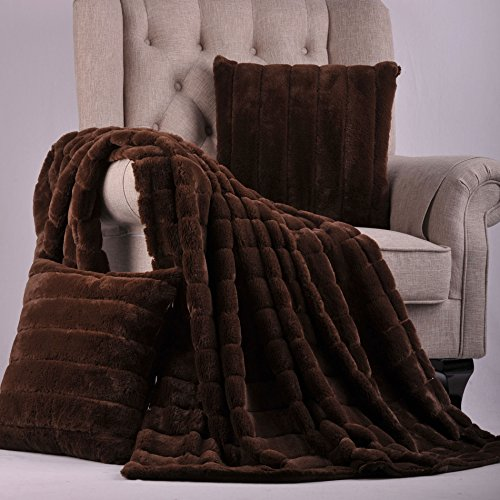Home Soft Things BOON Rabbit Fur Throw with 2 Pillow Combo Set, 60