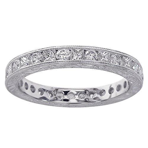 Avital & Co. 1.25 Carat Diamond Antique Style Engraved Eternity Band 18K White (Diamond Engraved Eternity Band)