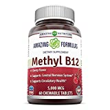 Amazing Nutrition Methyl B12 Dietary Supplement – 5000 mcg (Vitamin B12 (Methylcobalamin), 60 Chewable tablets – Supports Nervous System, Circulatory Health & Energy Metabolism For Sale