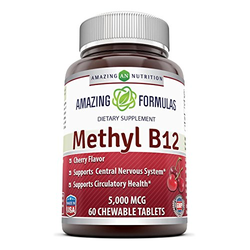 Amazing Nutrition Methyl B12 Dietary Supplement - 5000 mcg (Vitamin B12 (Methylcobalamin), 60 Chewable tablets - Supports Nervous System, Circulatory Health & Energy Metabolism