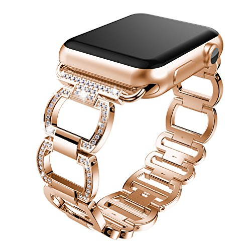 Band Pink Crystal (ANCOOL Apple Watch Bracelet Crystal Rhinestone Diamond Replacement Watch Band for Apple Watch Series 3/Series 2/Series 1 - 42mm Pink Gold)