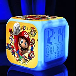 SUPER MARIO BROS 7 Colors Change Digital Alarm LED Clock Game Cartoon Night Colorful Toys for Kids (Style 3)