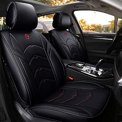 OUTOS Luxury Auto Car Seat Covers 5 Seats Full Set Universal Fit Black-Pink with Queen Logo