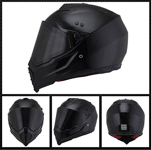 Woljay Dual Sport Off Road Motorcycle helmet Dirt Bike ATV D.O.T certified (M, Black)