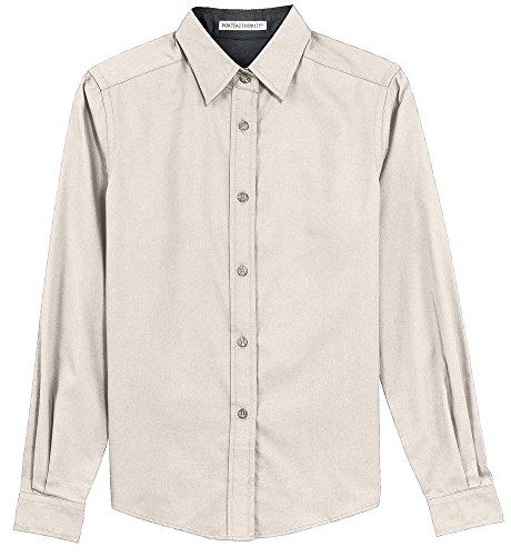 Port Authority Ladies Long Sleeve Easy Care Shirt, Light Stone/ Classic Navy, Large