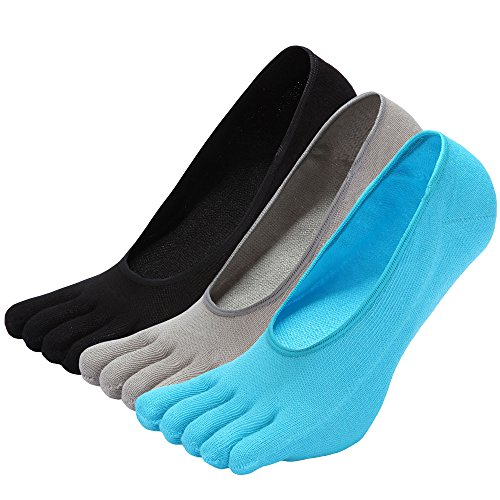 NO Show Running Five Fingers Crew Ankle Toe Socks for Women Ladies Men (one size, black&gray&blue) ()
