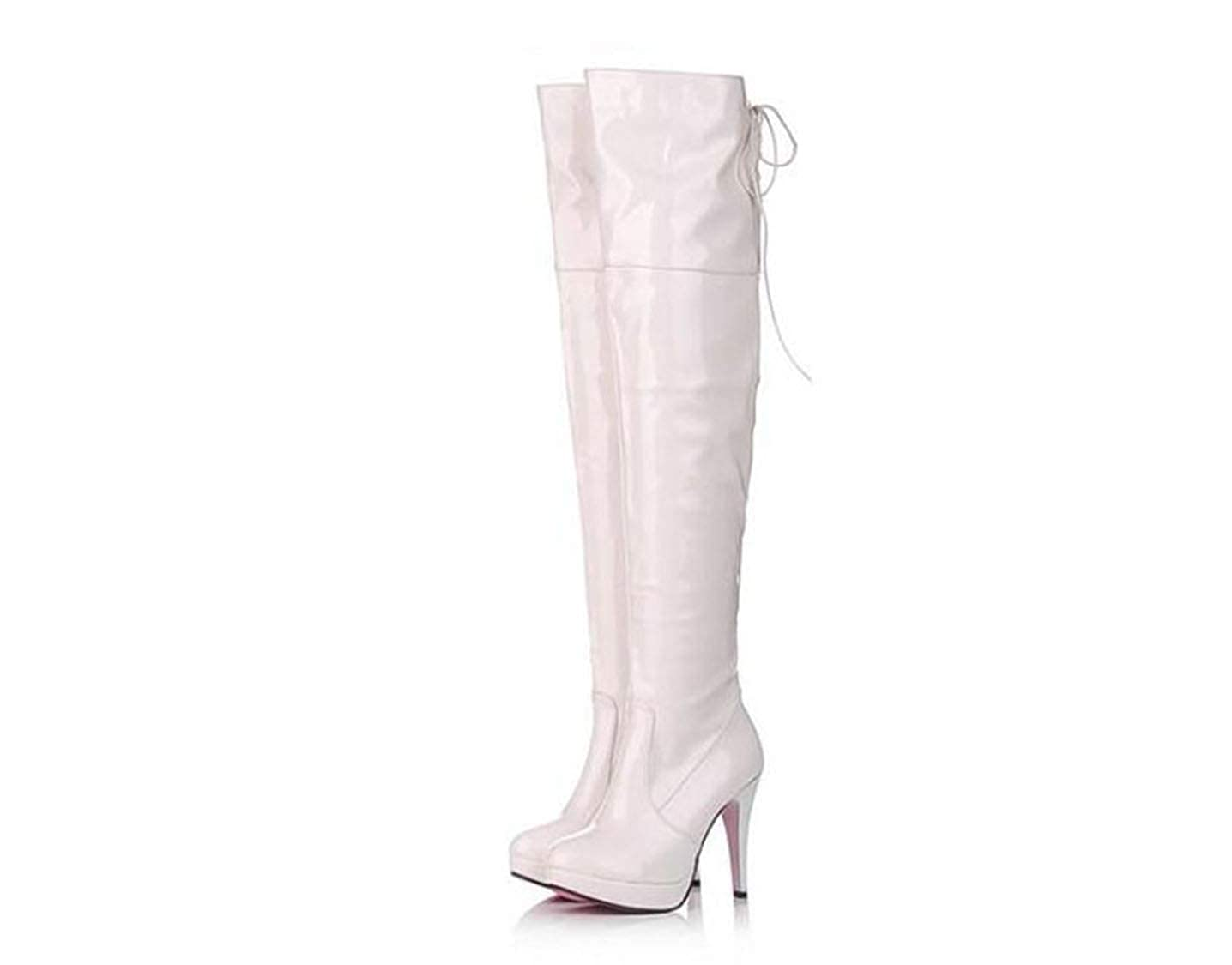 White DOSOMI Women's Leather Over The Knee Shine Boots - Sexy Drawstring Stretchy Pull on - Comfortable High Thin Heel