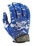 adidas Adult Digi Camo Receiver's Gloves, White/Royal, Large