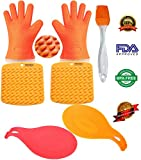 Oven Mitts Heat Resistant BBQ Grill Oven Gloves for Barbecue Baking Smoking & Cooking From AdroitOne + 2 Spoon Rests + 2 Pot Holders/Trivets +1 Basting/Pastry Brush