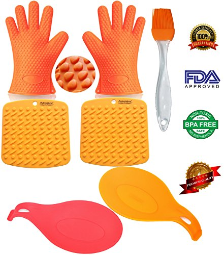 Oven Mitts Heat Resistant BBQ Grill Oven Gloves for Barbecue Baking Smoking & Cooking From AdroitOne + 2 Spoon Rests + 2 Pot Holders/Trivets +1 Basting/Pastry Brush ()