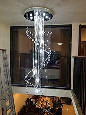 "Moooni Large Modern Crystal Chandelier Lighting Double Spiral Ceiling Light for Entrance Porch D31.5"" x 110"" H"