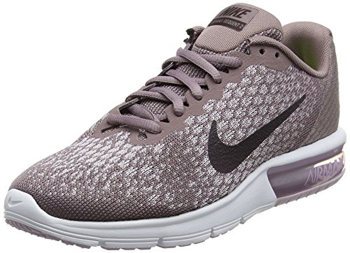 NIKE Air Max Sequent 2 Size 8 Womens Running Taupe Grey/Port Wine-Plum Fog-Iced Lilac Shoes (Nike Women Shox Shoes)