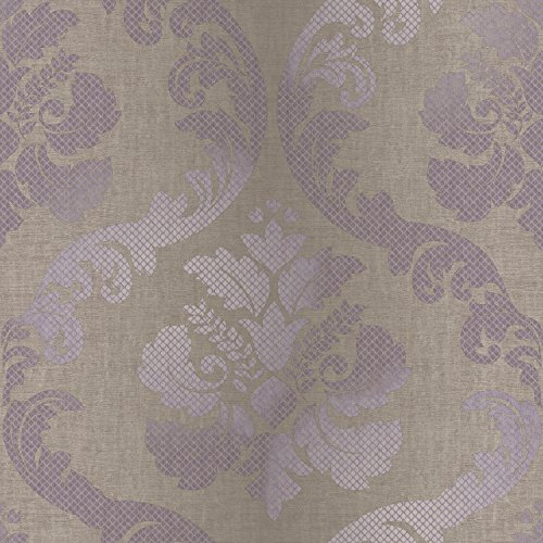 (Chesapeake VIR98227 Delilah Tulip Damask Wallpaper, Purple )