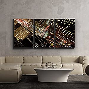 "3 Piece Canvas Print - Contemporary Art, Modern Wall Decor - Eagle Eye view of 42nd street in New York City - Giclee Artwork - Gallery Wrapped Wood Stretcher Bars - Wall26 - 24""x36""x3 Panels"