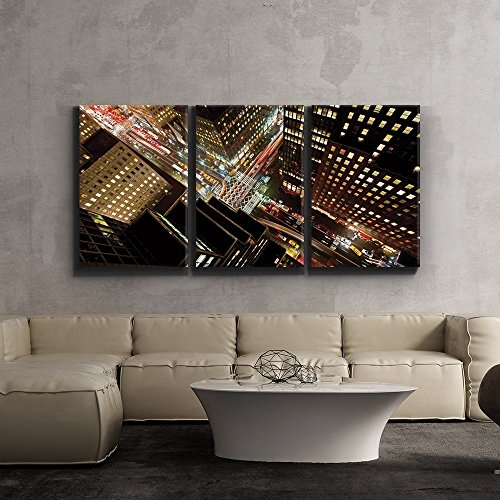 "3 Piece Canvas Print - Contemporary Art, Modern Wall Decor - Eagle Eye view of 42nd street in New York City - Giclee Artwork - Gallery Wrapped Wood Stretcher Bars - Wall26 - 16""x24""x3 Panels"