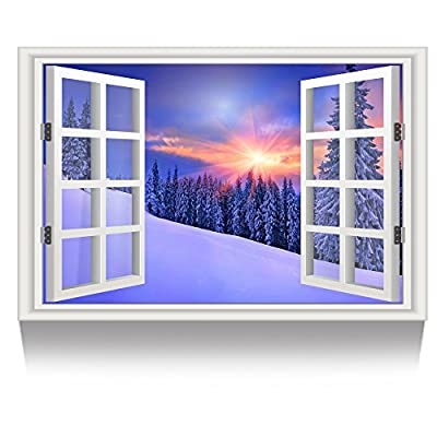 Kreative Arts Canvas Print Wall Art Window Frame Style Landscape Picture Wall Decor Stretched Giclee Print Gallery Wrap Modern Home Decoration Ready to Hang