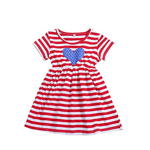Toddler Baby Girl 4th of July Dress Short Sleeve T-Shirt American Flag Dress Independent's Day Clothes (Red, 4-5 Years) -