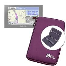 "Purple 7"" Shock-Absorbing Hard EVA Shell Case for Garmin Nuvi 2789LMT / Garmin RV 760LMT / Garmin Dezl 770 LMT-D Satnav - With Internal Elasticated Velcro Strap & Netted Accessory Pocket - by DURAGADGET"
