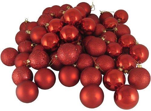 (SWONVI (TM) 21ct Matte Red Hot Shatterproof Christmas Ball Ornaments 1.56
