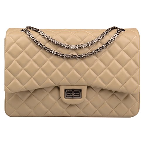 Ainifeel Women's Quilted Oversize Genuine Leather Shoulder Handbag Hobo Bag Purse (X-Large, Taupe (Gunmetal hardware))