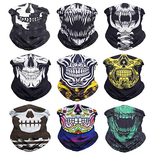 Eytan Multifunctional Headwear Skull Face Mask Neck Gaiter Scarf Wrap Sweatband Headband Skeleton Face Shield - Magic Sports Seamless Tube Bandana (9PCS Skull Series-4) ()