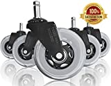 Texas Real Rollers Office Chair Caster Wheels | For Home & Office Use | Set Of 5 Pcs. Heavy Duty 3'' Replacement Rubber Desk Office Chair Casters | Rollerblade Style Casters For Hardwood Floors