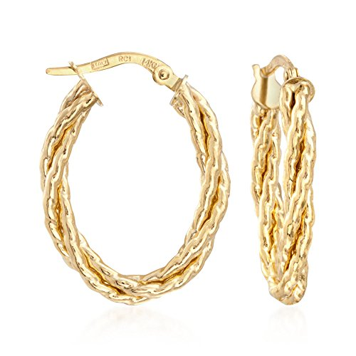(Ross-Simons Italian 14kt Yellow Gold Twisted Oval Hoop Earrings)